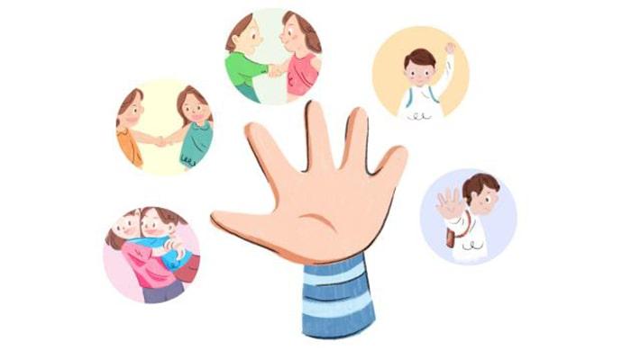 Quy tắc 5 ngón tay vô cùng đơn giản và rất dễ nhớ đối với trẻ