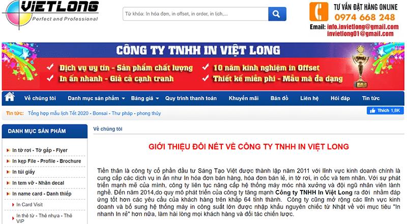 Website công ty TNHH in Việt Long