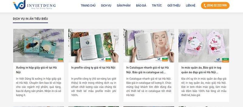 Website công ty cổ phần in Việt Dũng