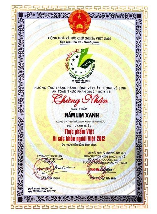 Giấy chứng nhận chất lượng Nấm lim xanh tại công ty TNHH Nấm Lim Xanh Tiên Phước