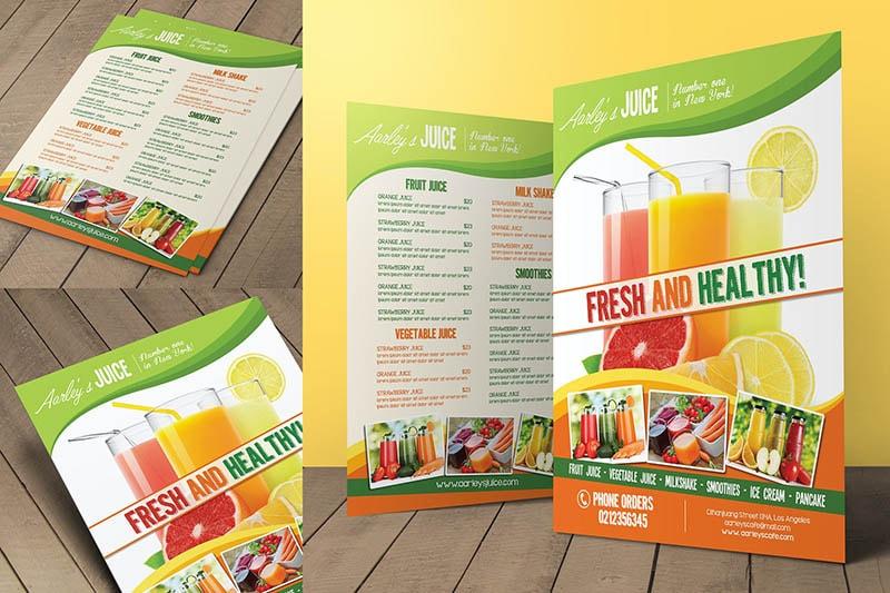 Xây dựng menu nước ép hoa quả để bán